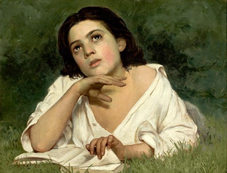 """""""Mädchen mit einem Buch"""" von José Ferraz de Almeida Júnior (1850–1899)"""
