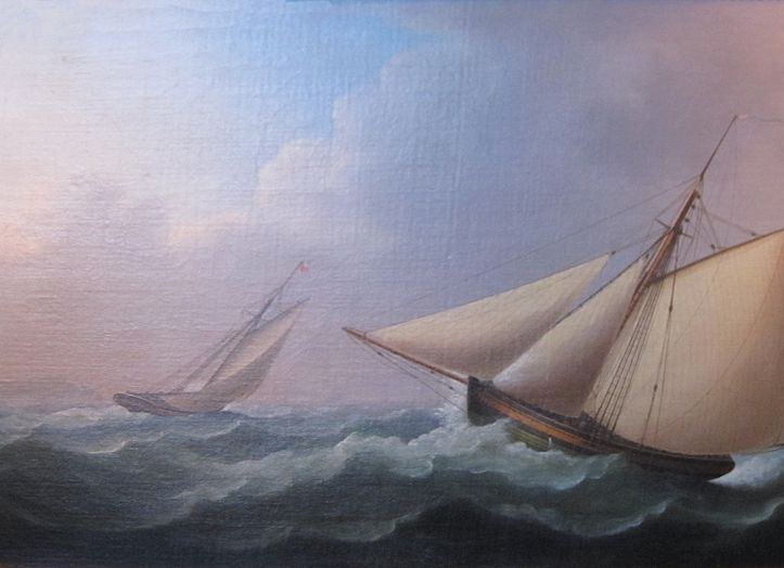 """Cutters in Pursuit in a Stiff Breeze"" von Thomas Buttersworth (1768–1842)"