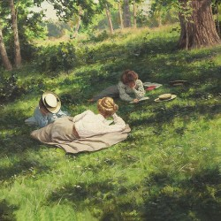 """Three reading women in a summer landscape (Tre läsande kvinnor i sommarlandskap)"", Johan Krouthén (1858–1932)"