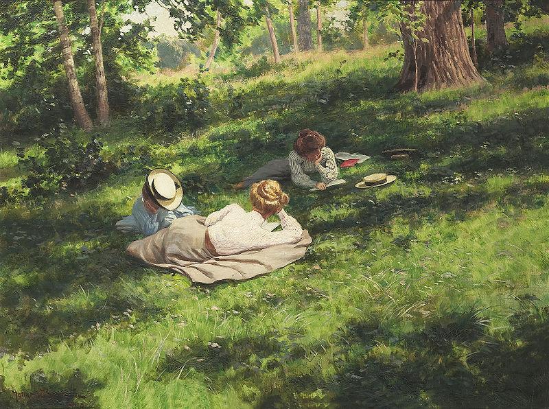 """""""Three reading women in a summer landscape (Tre läsande kvinnor i sommarlandskap)"""", Johan Krouthén (1858–1932)"""