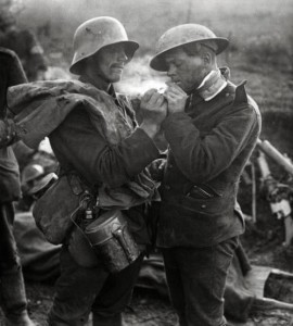 British and German soldiers exchanging cigarettes and other gifts during the Christmas Truce of 1914