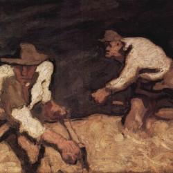 """""""Die Bergmäher bei aufsteigendem Gewitter"""" von Albin Egger-Lienz (1868–1926)"""