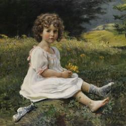 """""""Mädchen auf einer Blumenwiese"""" von Gottfried Hofer (1858–1932)"""