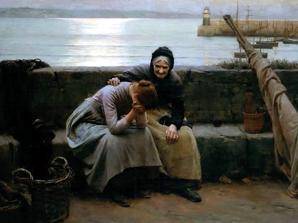 """Never Morning Wore to Evening but Some Heart Did Break"" von Walter Langley (1852–1922)"