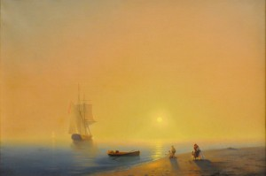 """Seascape"", Öl auf Leinwand, Unbekannter Maler (Sammlung des Murmansk Regional Museum of Art, 19. Jhdt.)"