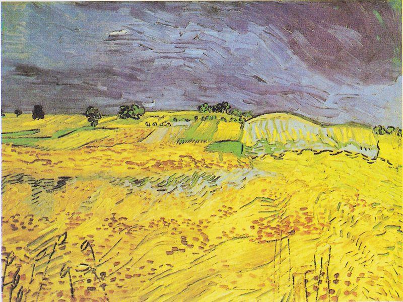 """""""Weizenfeld mit Gewitterhimmel"""" von Vincent van Gogh (1853–1890)"""