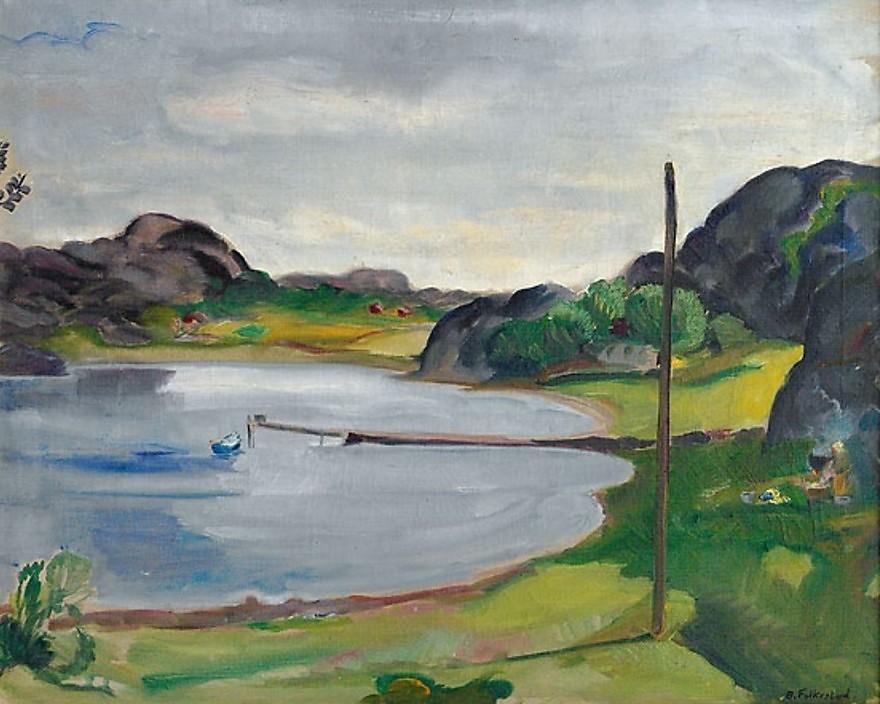 """Bukt med robåt"" von Bernhard Folkestad (1879–1933)"