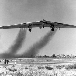 """U.S. Air Force YB-49 taking off to atom bomb the invading Martians."" (Wikipedia)"
