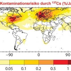 Weltweite Wahrscheinlichkeit einer radioaktiven Kontamination: Die Karte gibt in Prozent an, wie hoch die jährliche Wahrscheinlichkeit einer radioaktiven Verseuchung von über 40 Kilobecquerel pro Quadratmeter ist. In Westeuropa liegt sie bei etwa zwei Prozent in einem Jahr. Quelle: Daniel Kunkel, MPI für Chemie, 2011