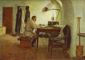 Tolstoi 1891 in Moskau, gemalt von Ilya Yfimovich Repin (1844-1930)