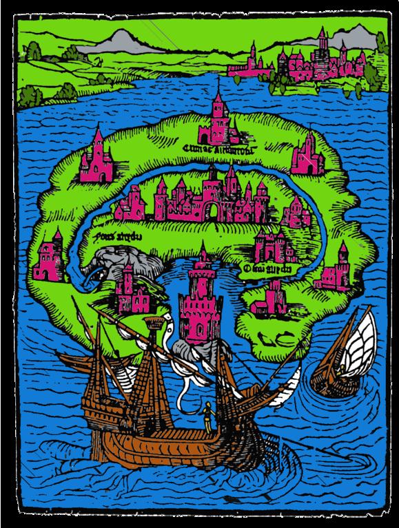 """Nachträglich eingefärbter Titelholzschnitt aus Thomas Morus' Roman """"Utopia"""" (Wikimedia Commons)"""