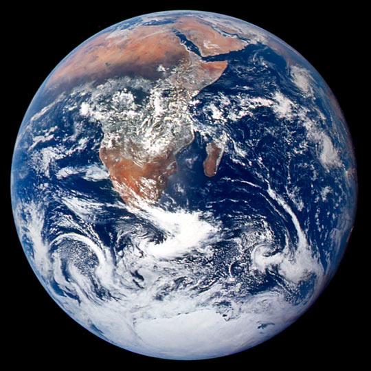 """The Blue Marble from Apollo 17"" (Bild: NASA Johnson Space Center)"