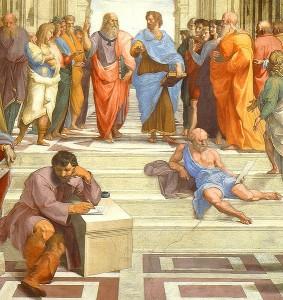 """Platon und Aristoteles (oben gehend) in """"Die Schule von Athen"""" (Detail) von Raffael (1510-1511)"""