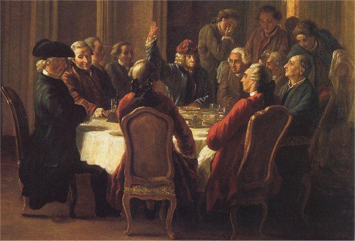 """Tafelrunde Voltaires in Ferney (""""Un dîner de philosophes"""" von Jean Huber, um 1772, Wikipedia)"""