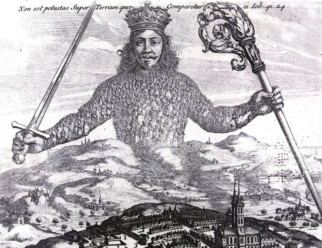 """Teil des Titelblatts von Thomas Hobbes' berühmtem """"Leviathan"""" (1651), """"einem der bedeutendsten Werke der westlichen politischen Philosophie"""" (Wikipedia)"""