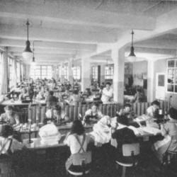 Fabriksarbeit (Bild: Hasana J. Hakenmüller Textilfabrik, Wikipedia)