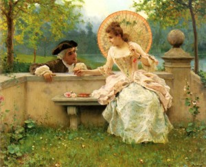 """""""A Tender Moment in the Garden"""" von Federico Andreotti (1847–1930)"""