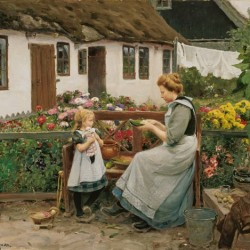 """At the garden bank"" von Hans Andersen Brendekilde (1857–1942)"
