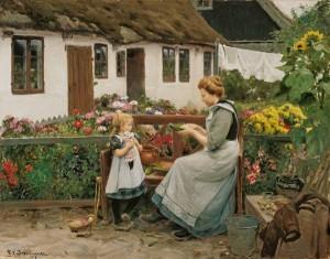 """At the garden bank"" von Hans Andersen Brendekilde (1857–1942)"