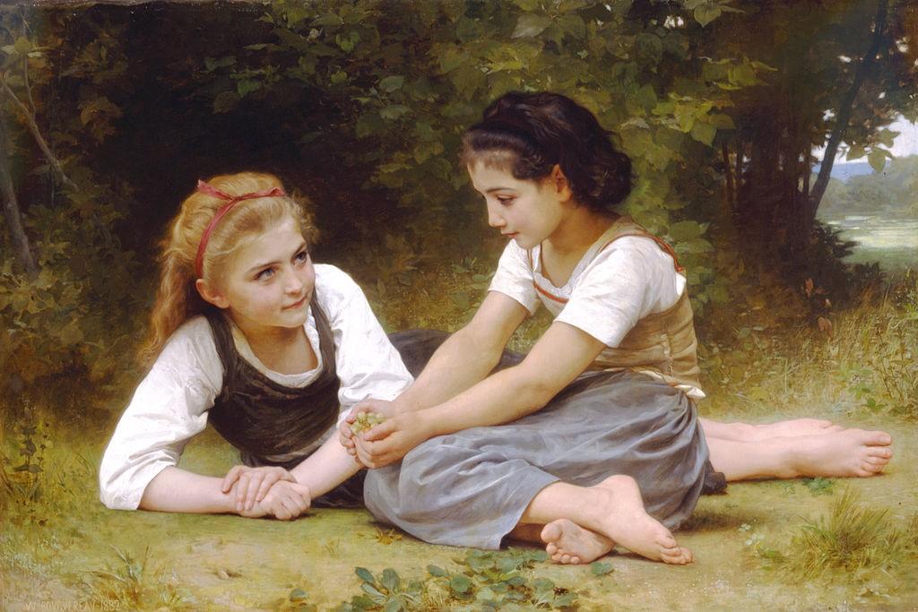 """""""The Nut Gatherers"""" (1882) von William-Adolphe_Bouguereau (1825-1905)"""