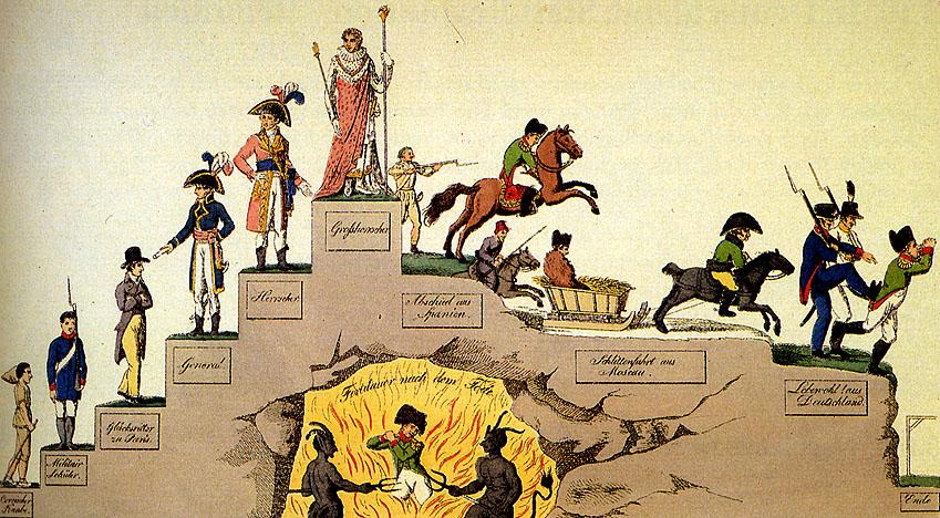"""Napoleons Lebenslauf"", deutsche Karikatur, ca. 1813 (Wikipedia)"